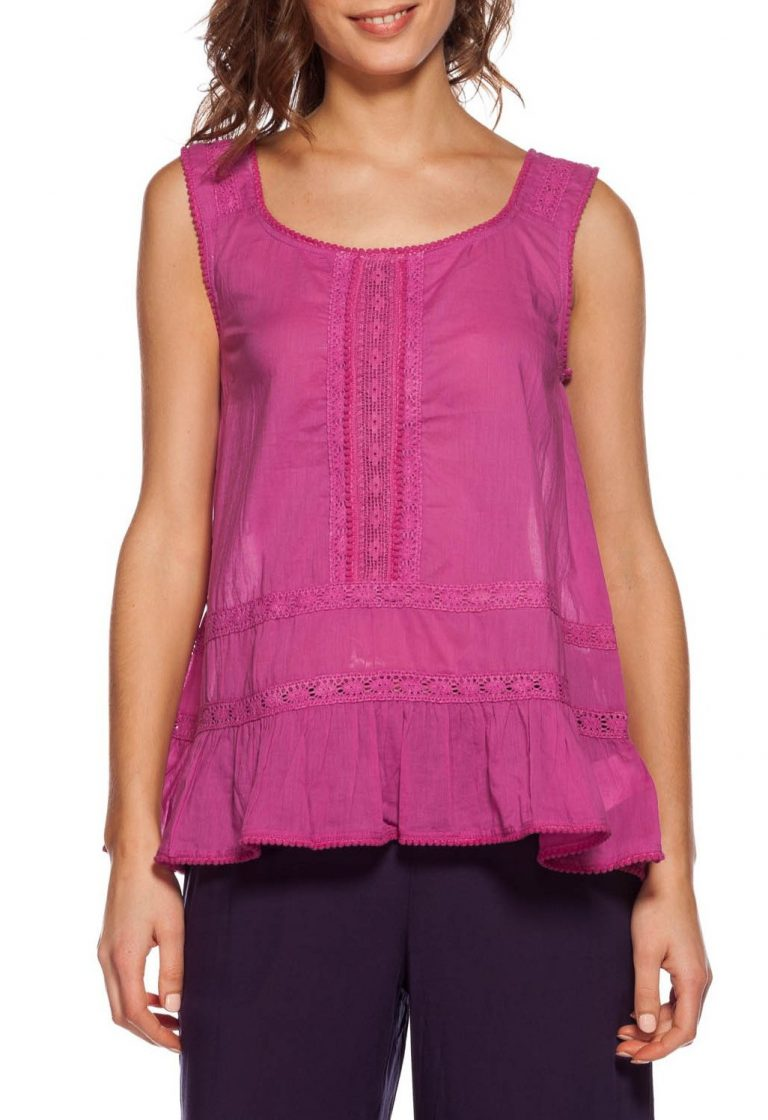 TOP WYLIE SIN MANGAS FUCSIA
